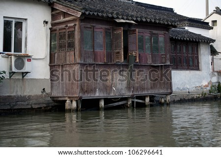 old Chinese house on the river