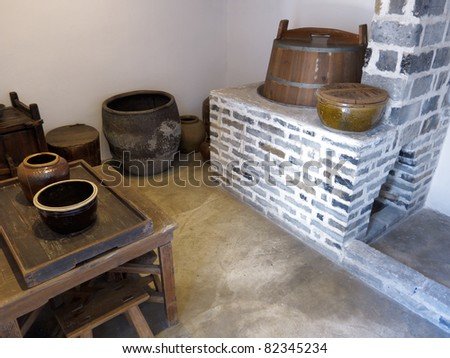 Old Chinese kitchen set and stove - stock photo