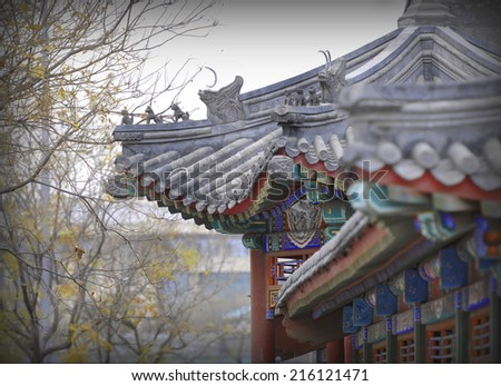 Old chinese roof  - stock photo