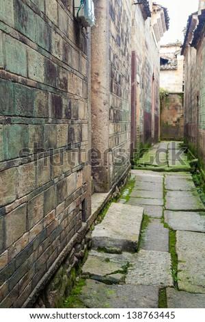 old chinese stone alley in Fuzhou city, Jinxi County, Dongyuan Village,Jiangxi - stock photo