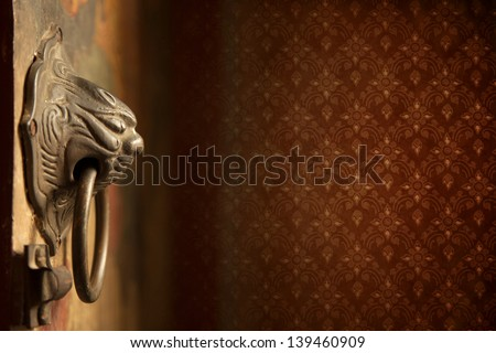 old Chinese style door handle - stock photo