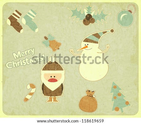 Old Christmas postcard. Santa Claus, snowman and Christmas decorations on a Vintage background. JPEG version. - stock photo