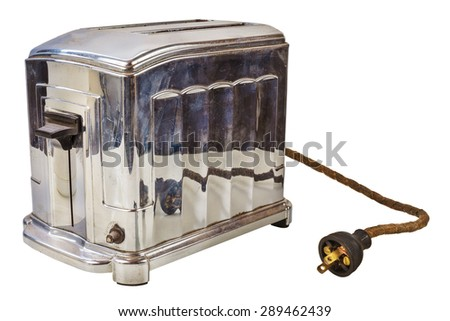 Old chrome bread toaster isolated on a white background - stock photo