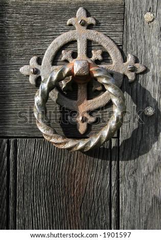 Old church door handle - stock photo