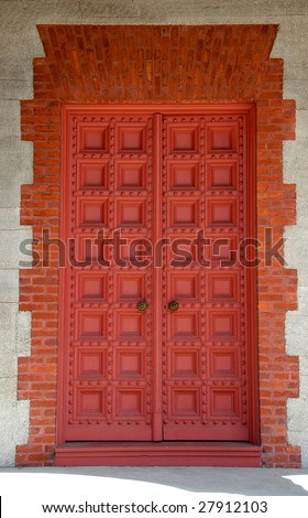old church door st augustine florida - stock photo