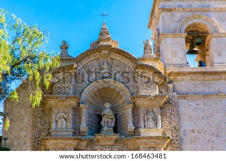 Old church in Arequipa, Peru, South America. Arequipa's Plaza de Armas is one of the most beautiful in Peru. - stock photo