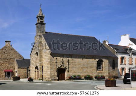 Old church in dressed stone of Erdeven in the Morbihan department in Brittany in north-western France
