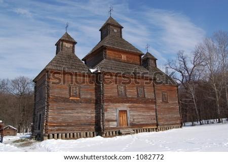 """Old church in Kiev Museum """"Pirogovo"""" - stock photo"""