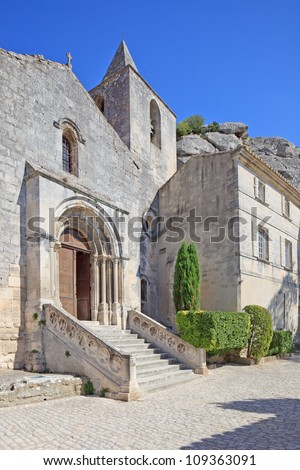 Old Church in Les Baux de Provence famous ancient medieval village. France, Europe - stock photo
