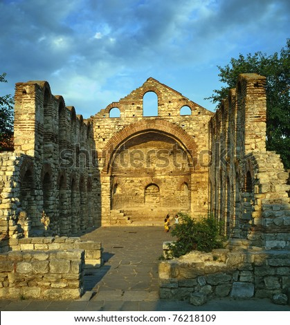 Old church in Nesebr, Bulgaria, UNESCO World Heritage Site - stock photo