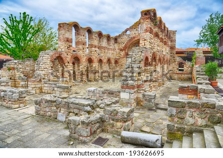 Old church in Nessebar, Bulgaria. UNESCO World Heritage Site. HDR image - stock photo