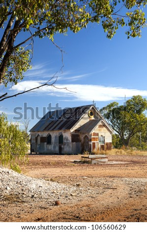 Old church in outback rural Australia under a blue sky - stock photo