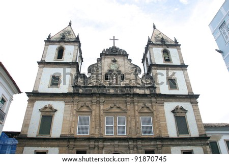 old church in pelourinho historical place in bahia brazil - stock photo
