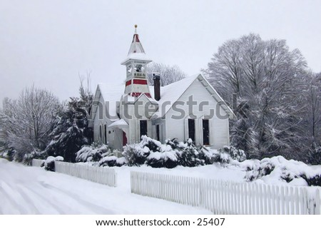 Old church in winter