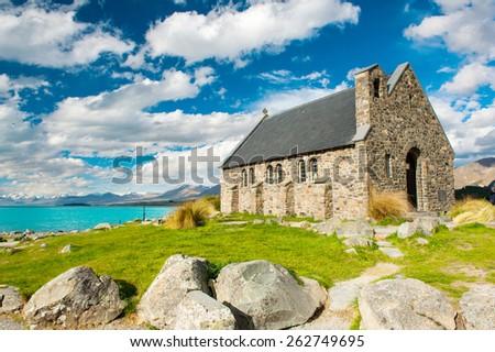 Old Church of the Good Shepherd at lake Tekapo, New Zealand  - stock photo