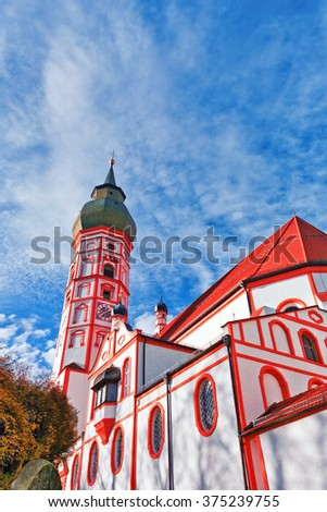 Old church on blue sky background. Germany