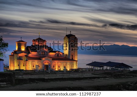 old church on colorful sunset, Ohrid lake coast Macedonia, Plaosnik