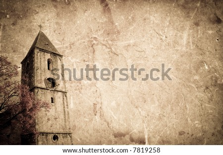 Old church on grunge paper background - stock photo