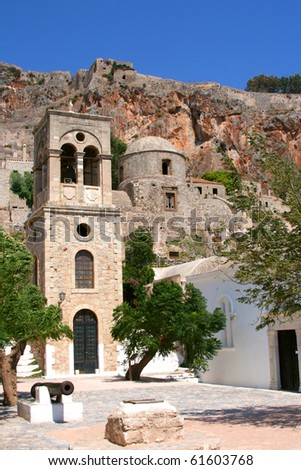 Old church on the square in Monemvasia, Greece