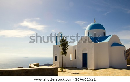 Old church overlooking the Aegean Sea, Nisyros, Greece - stock photo
