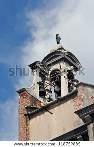 Old church tower bell. - stock photo