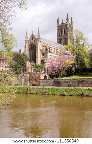 old church with river - stock photo