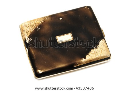 old cigarette case on a white background