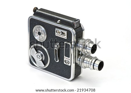 old cine camera on white isolated - stock photo