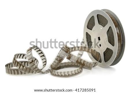 Old cinefilm isolated on white - stock photo
