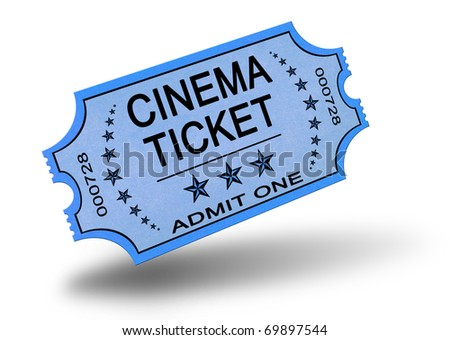 Old cinema ticket isolated on white - stock photo