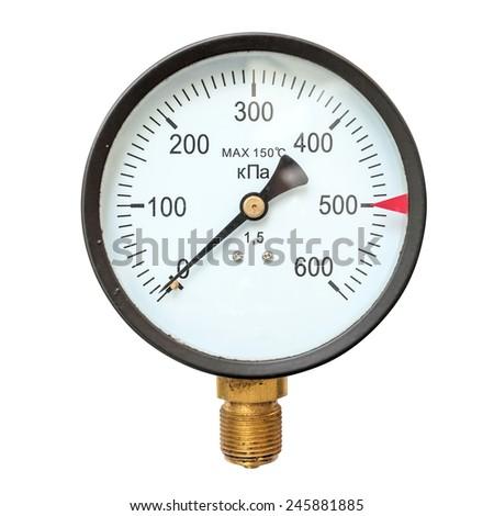 Old circular industrial pressure gauges - stock photo