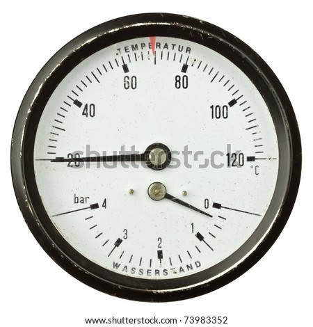 Old circular industrial temperature and pressure meter, thermometer. - stock photo