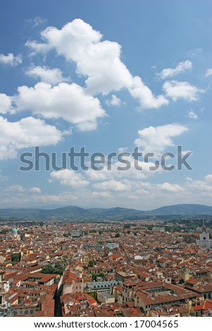 Old city aerial view (Florence, Italy) - stock photo