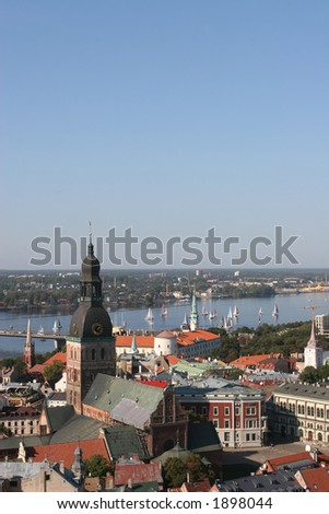 Old City and Daugava river View(Riga, Latvia). View from St. Peter Cathedral