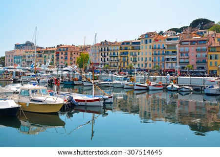 Old city and harbor in Cannes, French Riviera, France - stock photo