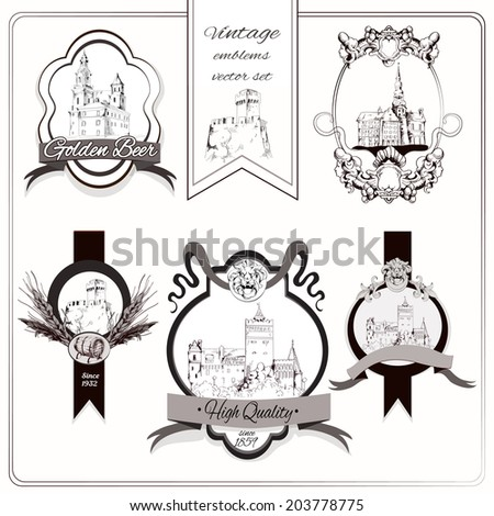 Old city buildings sketch decorative emblems set isolated  illustration
