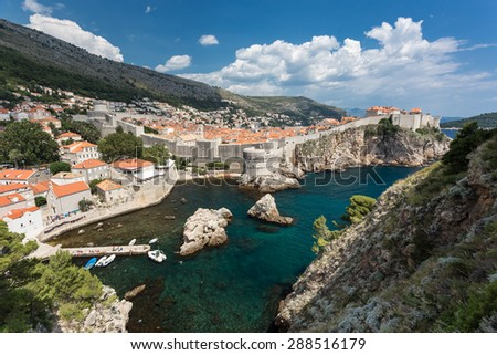 old city fortress walls and bay of dubrovnik, croatia - stock photo