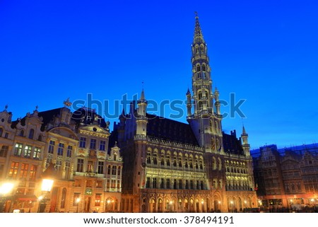 Old City Hall of Brussels in Grand Place at night, Brussels, Belgium