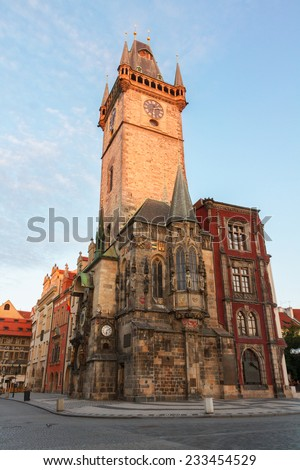 old city hall of Prague with astronomical clock, Czech Republic - stock photo