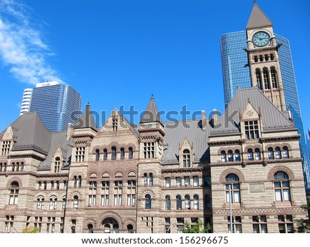 Old city hall of Toronto in gothic style under the sunset light - stock photo