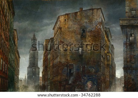 Old city. Made by tempera on paper. - stock photo