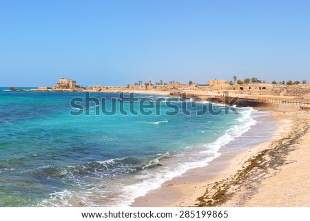 Old city of Caesarea and the beautiful Mediterranean sea panoramic view. Caesarea. Israel - stock photo