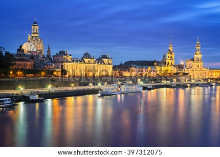 Old city of Dresden, Germany at night - stock photo