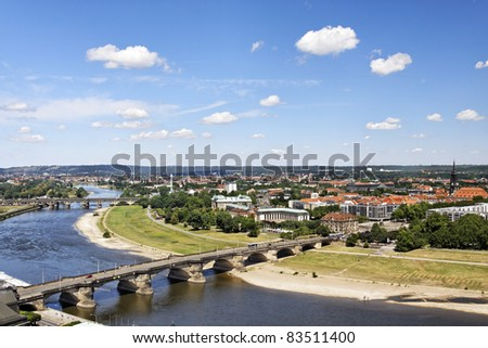 Old city of Dresden with a view to the river Elbe - stock photo