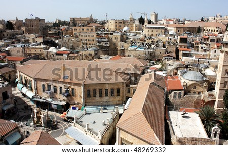 Old city of Jerusalem. Christian Quarter. Top view. - stock photo