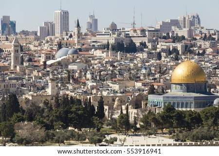 Old City of Jerusalem with Temple Mount and Dom of the Rock, Israel