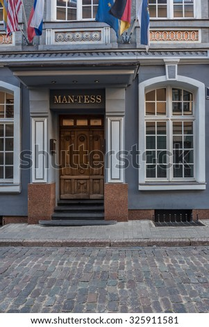 Old City of Riga, Latvia-October 2, 2015: A selection of interesting decorative building facades and doors of different architectural styles; art-nouveau, baroque and others.