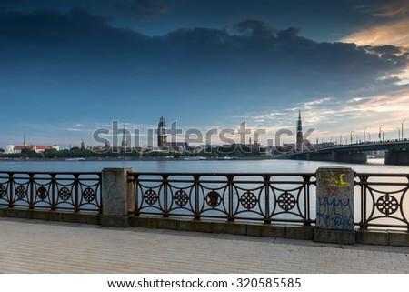 Old city of Riga, Latvia. View from left embankment of the Daugava river - stock photo