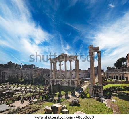 Old city of Rome at the day time, Italy - stock photo
