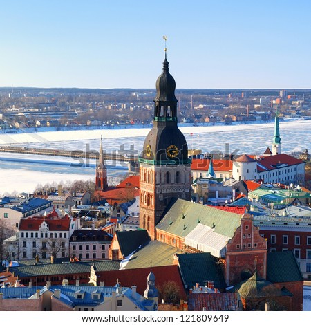 old city part in Riga, Latvia. Areal view - stock photo